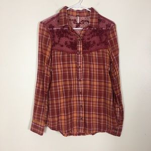 Free People Red & Orange Plaid Lace Trim Shirt